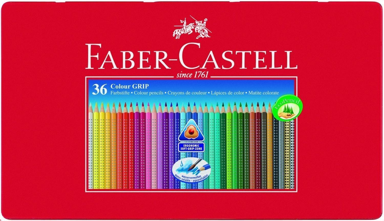 36 buntstifte colour grip von faber castell in metalletui. Black Bedroom Furniture Sets. Home Design Ideas